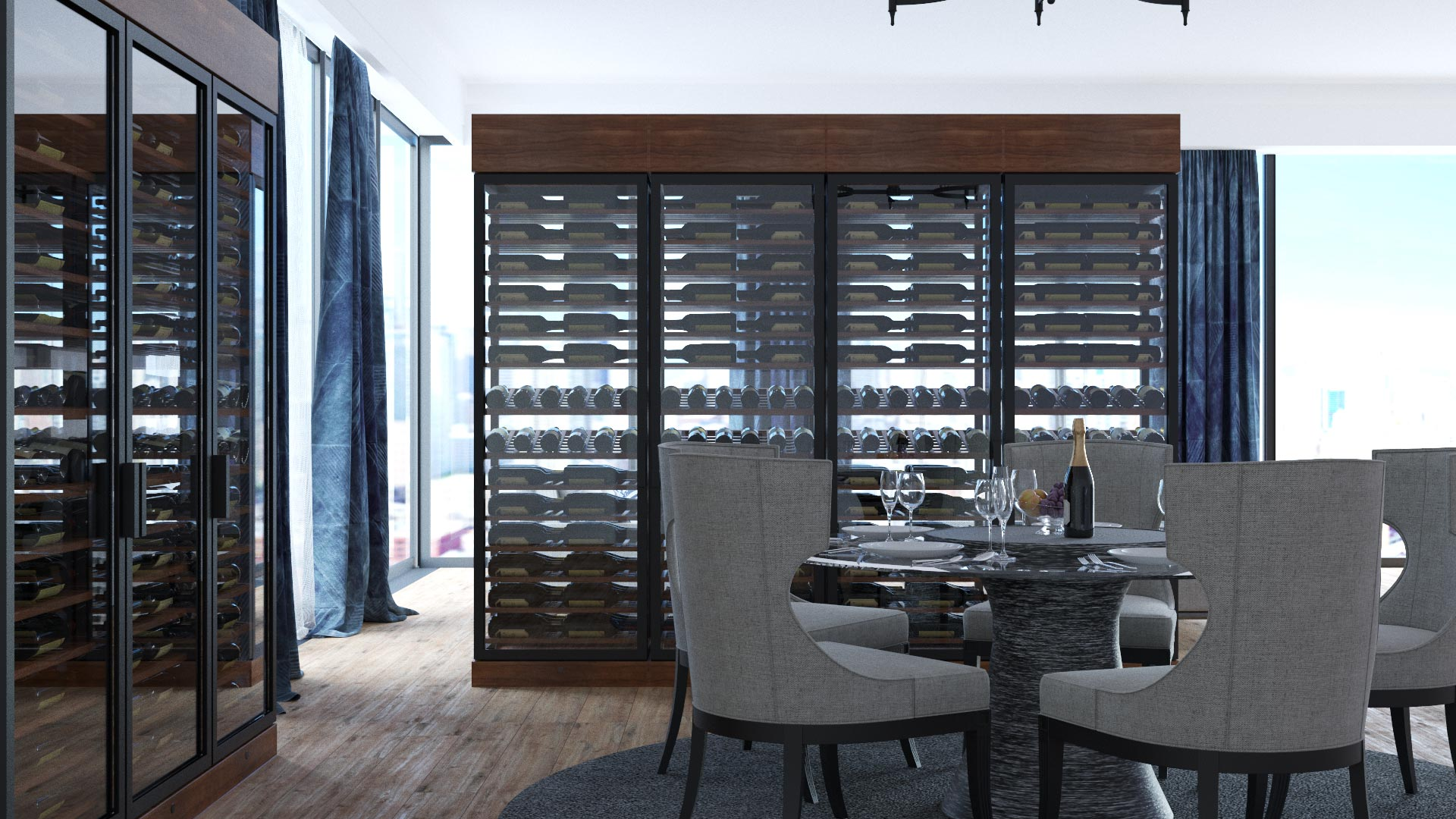 Picture of a dine-in wine cellar.